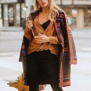 Jackets & Blazers - Classy Plaid Print Long Blazer - Rich Brown